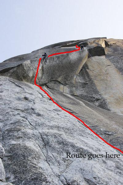 Rock Climbing Photo: The Kor Roof on the S. Face, Washington Column, Yo...