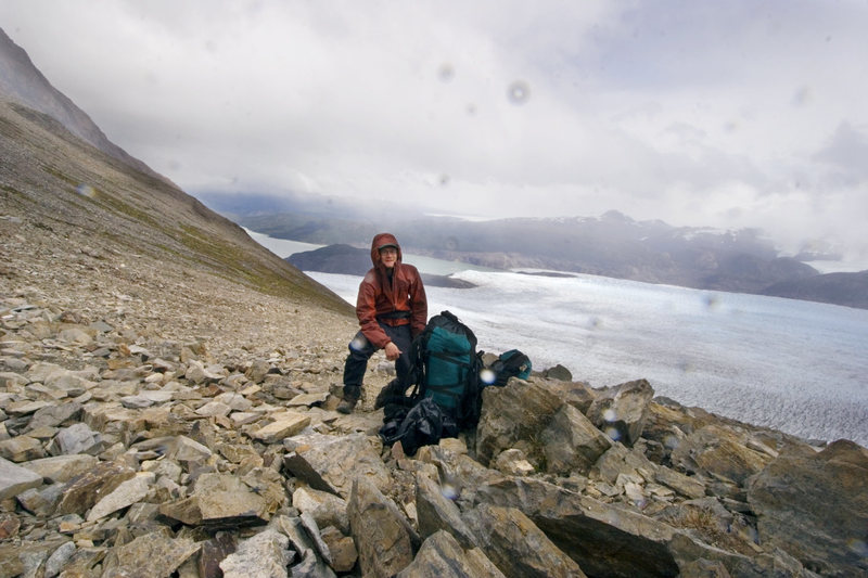 Backpacking in Torres Del Paine National Park, above the Grey Glacier, part of the Southern Patagonian ice cap