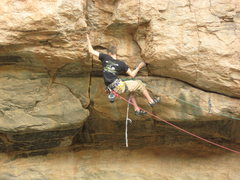 Rock Climbing Photo: Pretty big move through crux on Hydroponics