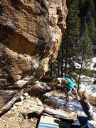 Rock Climbing Photo: Kerosene Milkshake.  Ander's bloody cartwheel in 3...