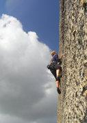 Rock Climbing Photo: Climbing the steep knobs on Knobnoxious .10d, East...