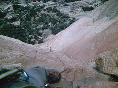 Rock Climbing Photo: Looking back at the slick slab on Pitch 2.