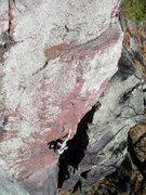 Rock Climbing Photo: Rhoads on lead.  Photo: J. Fellenz