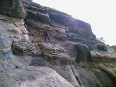 Rock Climbing Photo: The beginning of the Traverse ledge