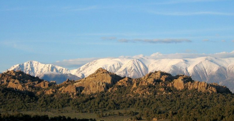 The Benton Crags with the White Mountains behind it - Eastern Sierra