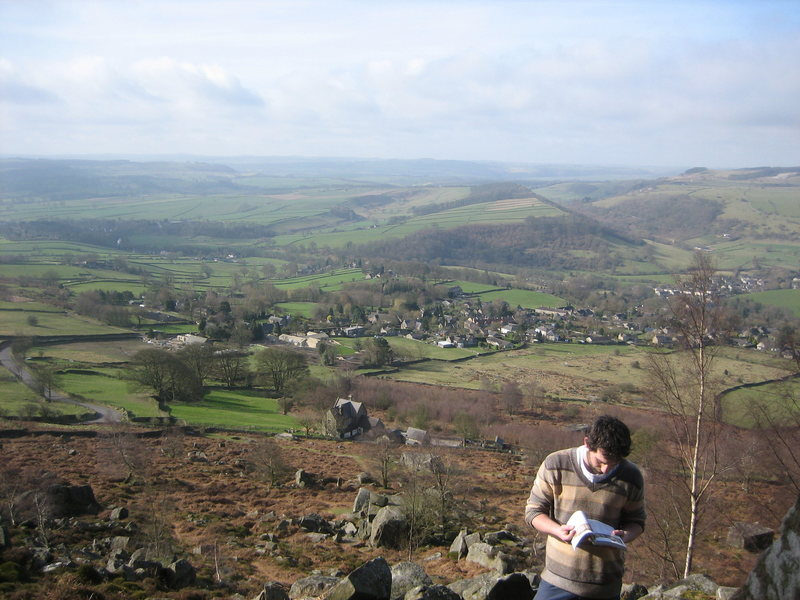 English countryside and the Curbar boulders