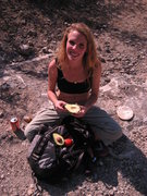 Rock Climbing Photo: Picnic lunch of avacado, tomato and Tecate!