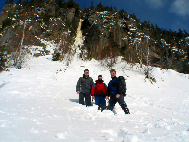 Joel, Roberto, and me under Obsession. Orient Bay, Ontario. Winter, 2004.
