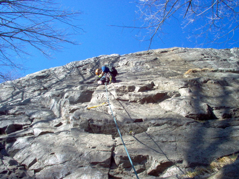 Rock Climbing Photo: Leading the trade route(5.8) back side of marquett...