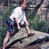 Jim Jarrell. Purple Valley, Red River Gorge. Spring '98.