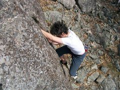Rock Climbing Photo: topping out the clasic crack line(5.6) on the sand...