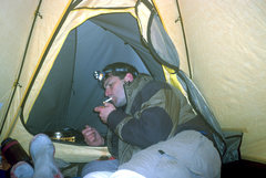Rock Climbing Photo: Pat M. at Camp Hazard. Mt. Rainier. Summer '05.