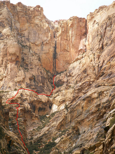 Rock Climbing Photo: If approaching from the lower canyons go up the bu...