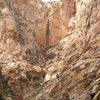 If approaching from the lower canyons go up the buttress on the left.  This may include some 4th class.
