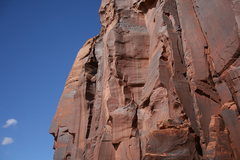 Rock Climbing Photo: Climber nearing the anchors and about to dive into...