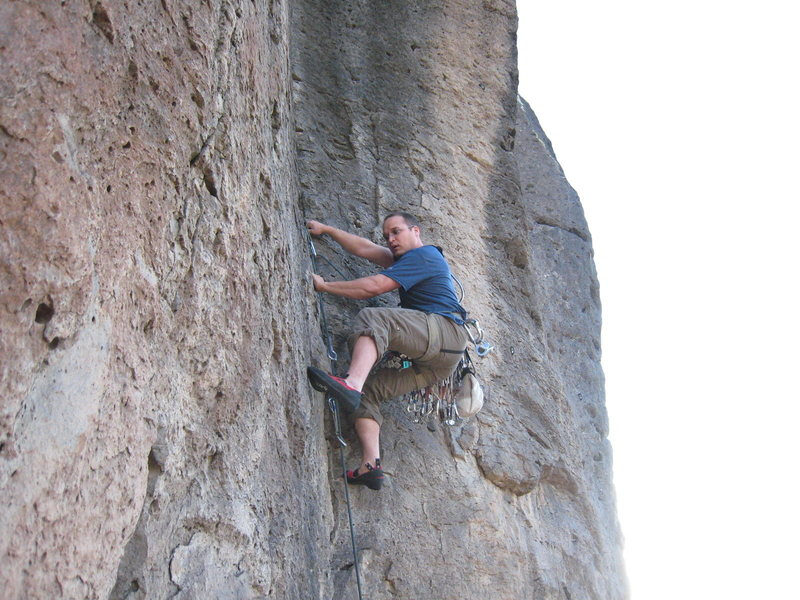 Rock Climbing Photo: On his way to a solid onsight, Mike Wheat makes th...