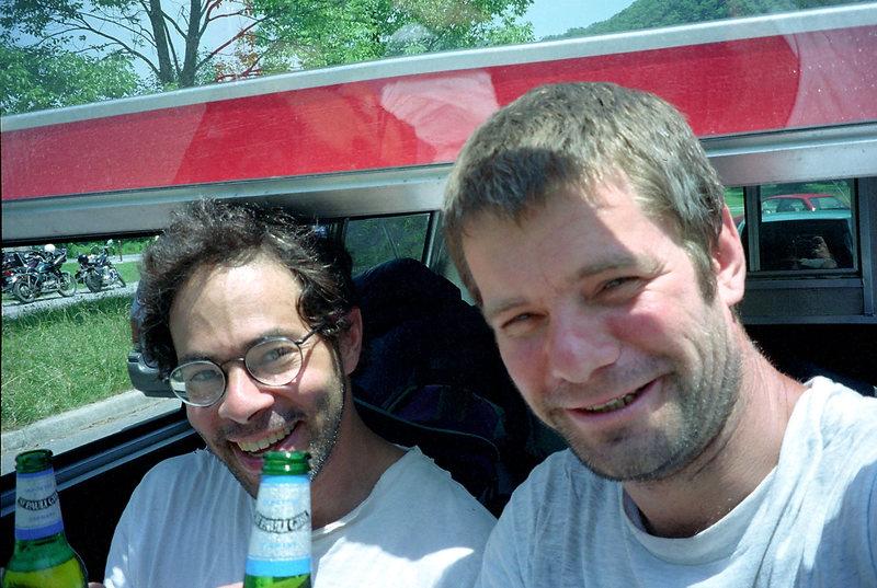 Bob, beer, and I in Seneca Rocks. Summer '96.