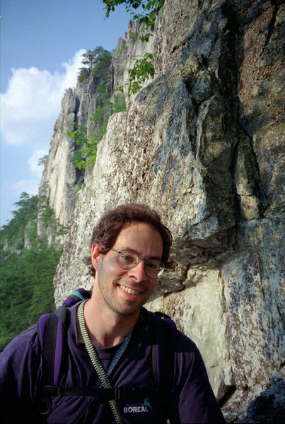 Bob Batterman under West Pole in Seneca Rocks. Summer '96.
