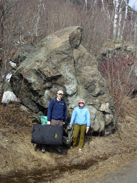 In the spring the boulder is a little more accessible.