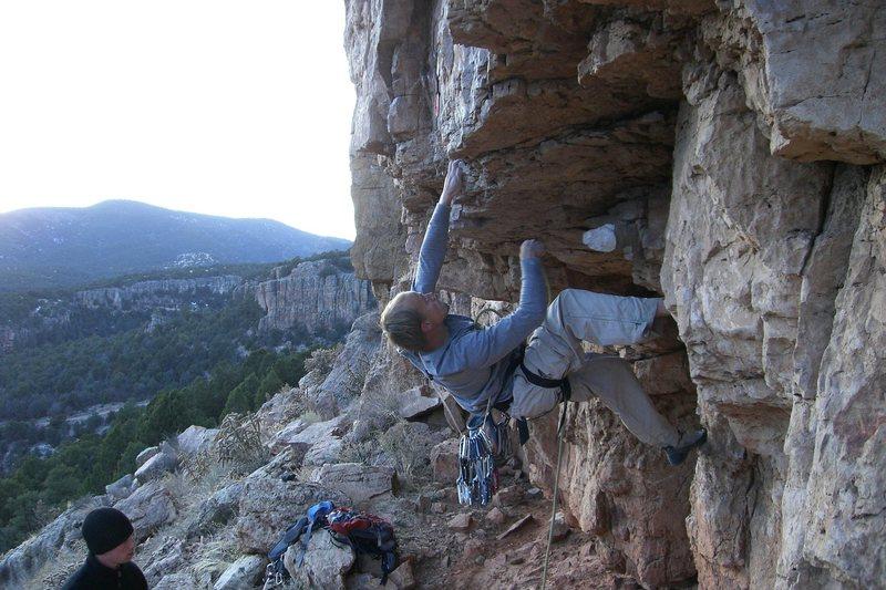 Zack at bouldery crux of Chunky Monkey