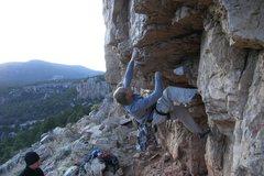 Rock Climbing Photo: Zack at bouldery crux of Chunky Monkey