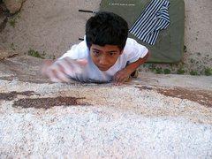 Rock Climbing Photo: Going for the lip on Morsel (V-easy), Joshua Tree ...