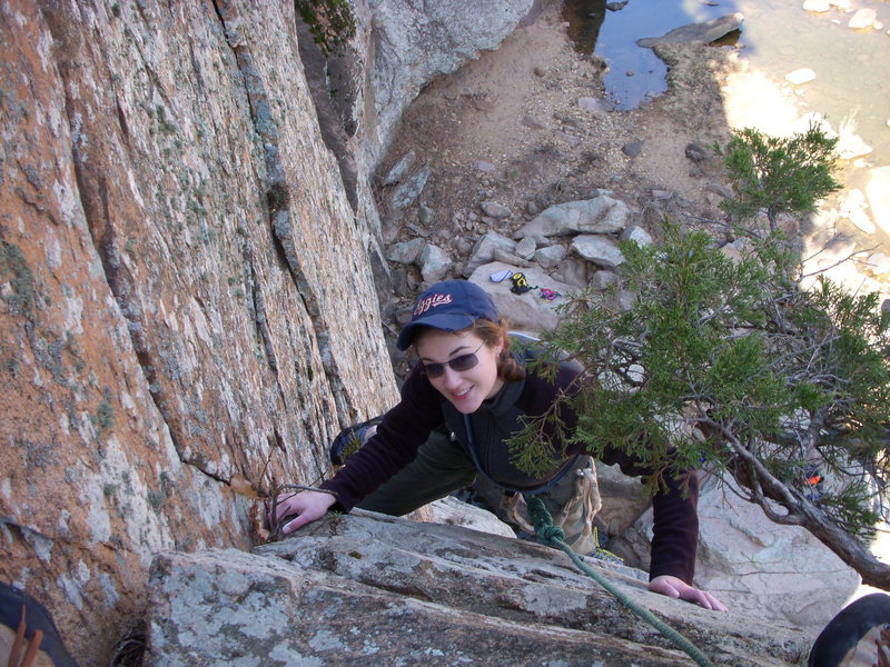 Amanda toping out on 1st pitch of Ker Plunk.  Mar 2009