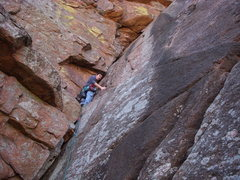 Rock Climbing Photo: Chris finds a resting place on the Dihedral.  Mar ...