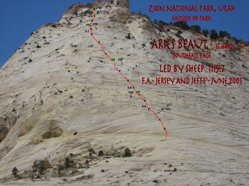 Rock Climbing Photo: aries butte photo topo