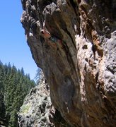 Rock Climbing Photo: Peter working through the crux bulge on Monster Sl...