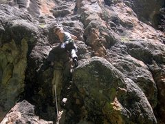 Rock Climbing Photo: Anna at the start of Cookie Monster.