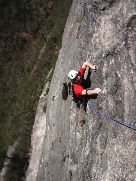 Brian crushin stone right before the crux.