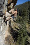 Rock Climbing Photo: Rick Bradshaw on the Werepig roof.