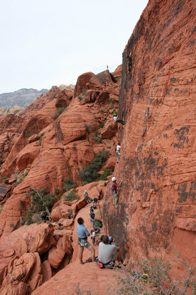 Rock Climbing Photo: Nathen starting up the Climb Sacred Undergarment S...