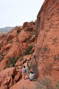 Rock Climbing Photo: Nathen starting up the Climb Sacred Undergarment S...