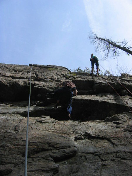 Matt working up past the ledge on Sherman.