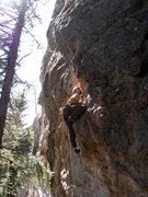 Rock Climbing Photo: On the first go of the route above the first crux....