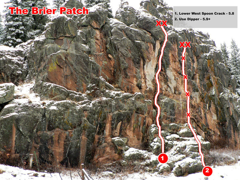 Hard to get confused about which route is the crack route and which is the sport route but just in case...