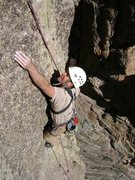 Rock Climbing Photo: Mark Ronca top rope soloing at the 3rd pitch crux ...