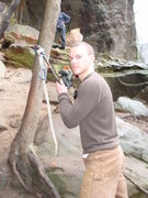 Rock Climbing Photo: home made stick clip for a sopping wet To Defy The...
