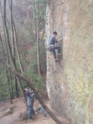 Rock Climbing Photo: brod absolutely tearing it up in the rain.  To Def...