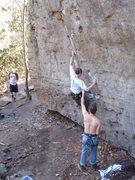 Rock Climbing Photo: josh leading Beta Spewer (10b)