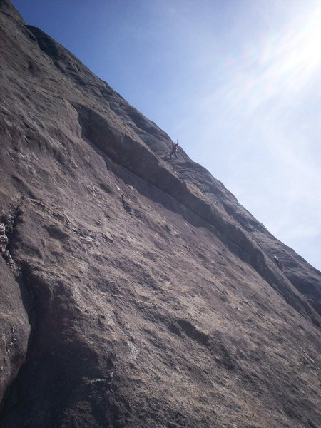 Me belaying Chad and Ryan from the top of P3...good ledge....photo credits go to Paul who was on Central Pillar.