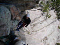 "Rock Climbing Photo: Jason cleaning gear on ""Sanctuary"" at Th..."
