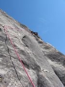 Rock Climbing Photo: Start of P5...thin moves to that first bolt...phot...