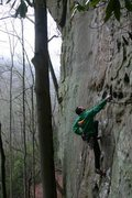 Rock Climbing Photo: Me on possum lips on a wet day...