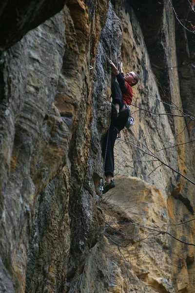 Rock Climbing Photo: James otey staying focused on wet slimy holds on F...