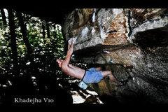 Rock Climbing Photo: Working the Khadejha rail V10.  Peter's Kill.