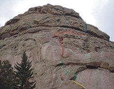 "Rock Climbing Photo: Upper portion of ""School Daze"" showing t..."