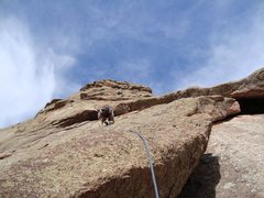 Rock Climbing Photo: Mike W. leading off on P2 of School Daze.